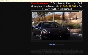 Easy Money Machine Michael Fox Scam Review showing off car