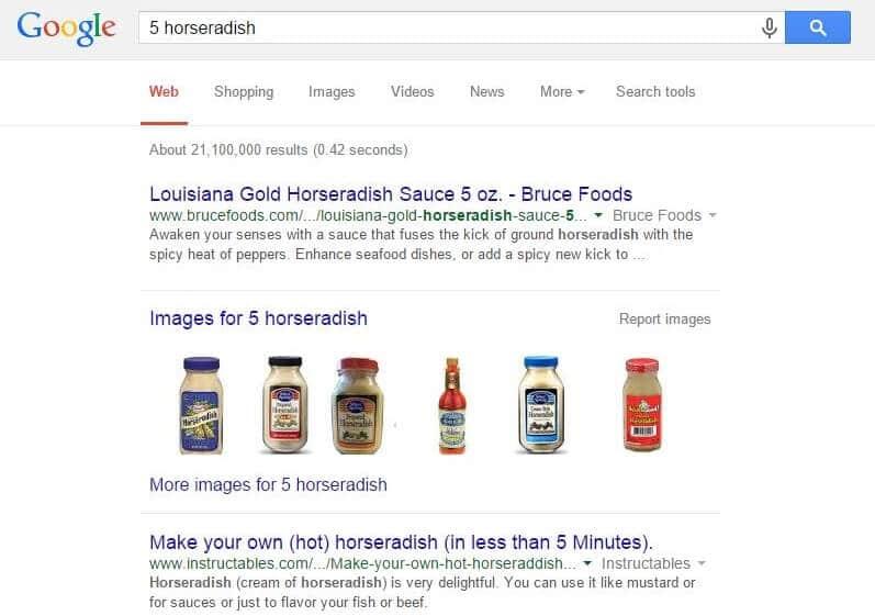 5 before horseradish