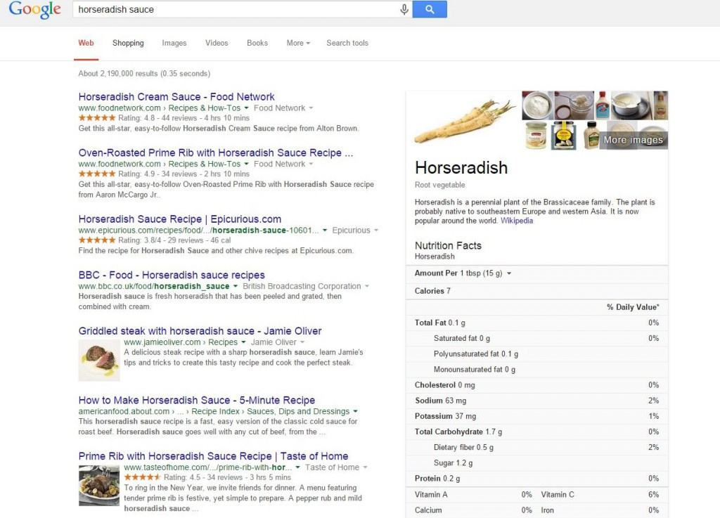 Searching for Horseradish sauce using Google Instant