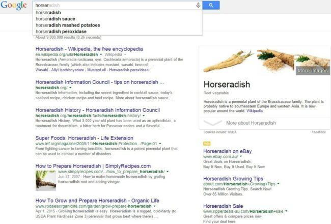Using Google Instant for finding Horseradish