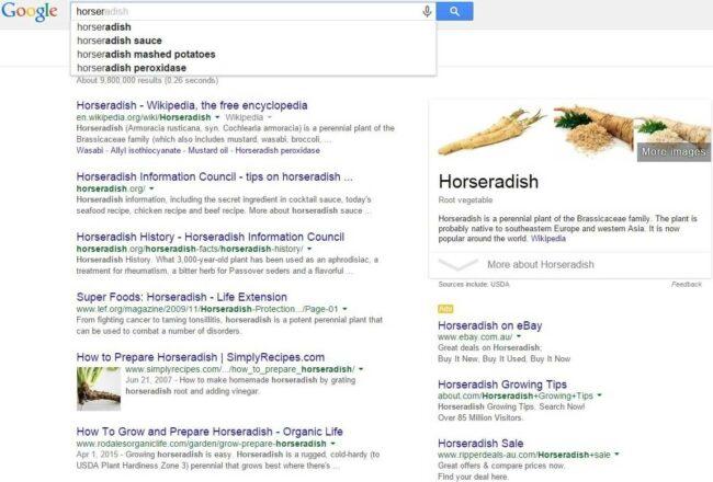 Google Instant for finding Horseradish