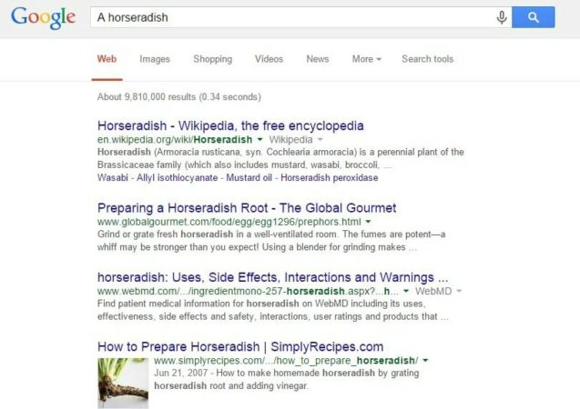 a before horseradish