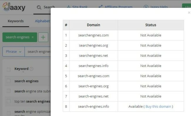 Domain search for the keyword Search Engines