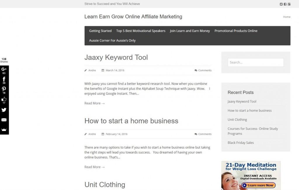 Website Learn Earn Grow Online Affiliate Marketing