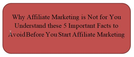 Why Affilaite Marketing is not for you