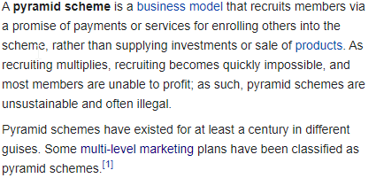 Wikipedia Pyramid Scheme Defination