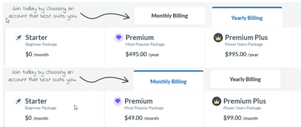 Monthly, and Yearly cost all memberships