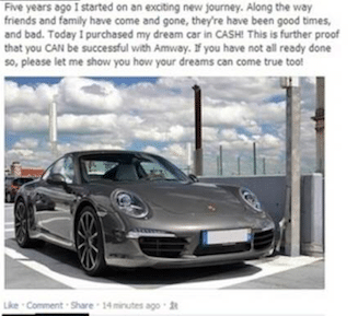 Porche purchased in Cash by Amway Distributor